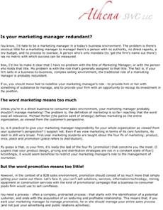The Redundant Marketing Manager